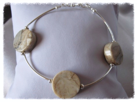 Pale Yellow Cloudy Jasper Coins & Sterling Silver Curves Bracelet
